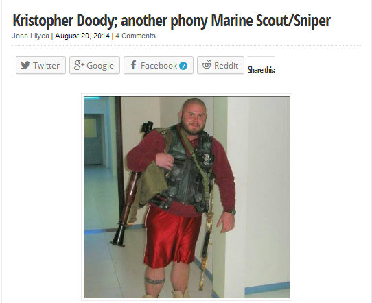 Kristopher Doody, US Marine Scout/Sniper , POSer, Blog of