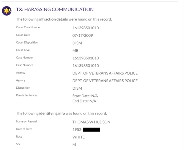 hudson-harrassing communications - dismissed
