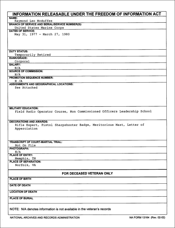 mcduffee-foia-summary sheet